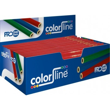 COLOR LINE Joiner's pencil PRO 101, oval shape, red lacquered - 24 cm - per 100 pieces Hand tools