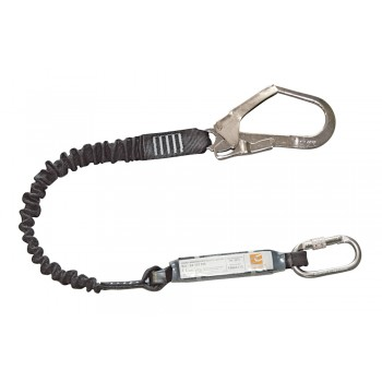 SECURX shock absorbing Elastic lifelines with shock absorber PA + 1 x SH10-SH15 - 1.5 m Fall arrest lanyards