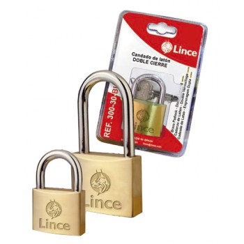 LINCE Cylinder padlock, double locked - brass - long bracket - 32 mm Home