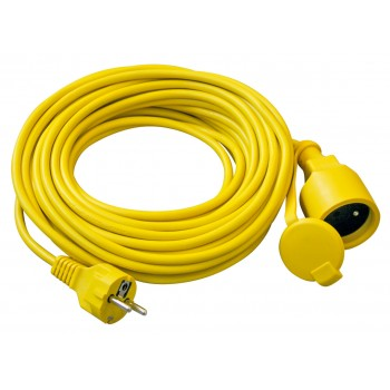 Extension cord, plug + hinged cover 15M (3Gx1,5mm2 Extension Cables & Connections