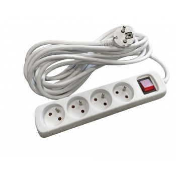Quadruple socket + light switch + cable 3m Power Distributors and multi-way Extensions