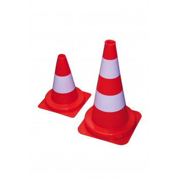 VINMER Orange fluo cone 50 cm with white painted strip Road signs
