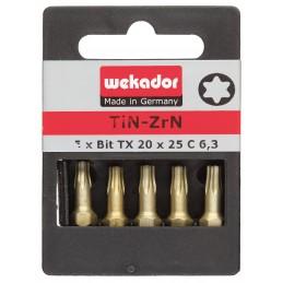 WEKADOR Set van 5 bits Top Five - ZrN-Torsion - TX 30 - 25 mm - prijs per set Bits Sets
