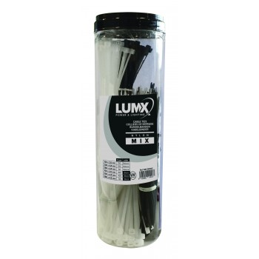 LUMX MIX Nylon Cable Tie Black-Colourless - 600 pieces Foams