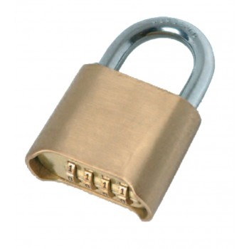 SOLID Padlock with recodable number combination - brass - 4-digit rollers - 50 mm Padlocks