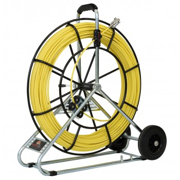 RUNPOTEC Fibreglass rod Ø 7.5 mm with steel reel and transport wheels - 100 m Cable Tractors