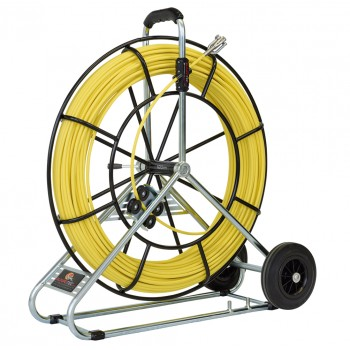 RUNPOTEC Fibreglass rod Ø 7.5 mm with steel reel and transport wheels - 80 m Cable Tractors