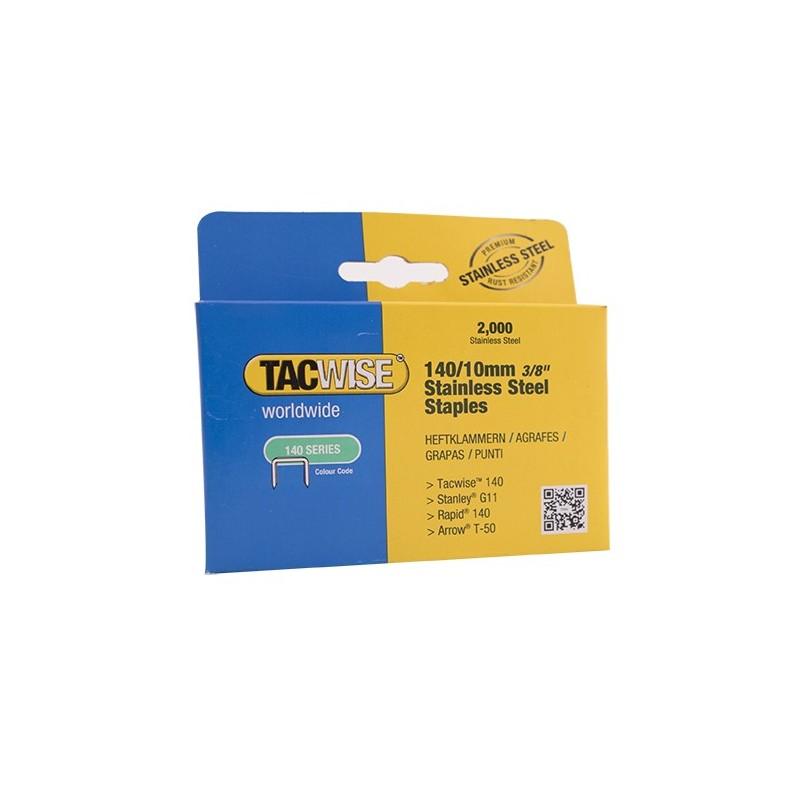 pack 2000 Tacwise 1217 140 en acier inoxydable agrafes 10 mm