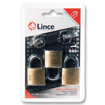 LINCE Cylinder padlock, double locked - brass - 3 pieces with 4 main keys - 25 mm Padlocks