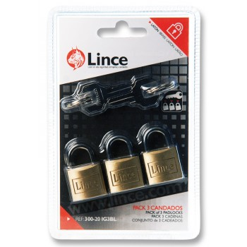 LINCE Cylinder padlock, double locked - brass - 3 pieces with 4 main keys - 15 mm Padlocks