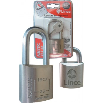 LINCE Cylinder padlock NAUTIC - stainless steel - EN-12320 - long bracket - 45 mm Padlocks