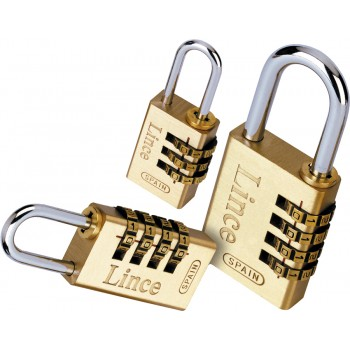 LINCE Padlock with recodable number combination - brass - 4-digit rollers - 27.5 mm Padlocks