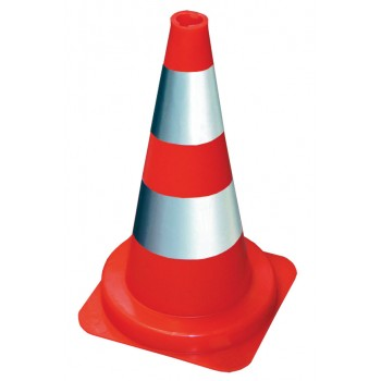 VINMER Orange fluo cone 50 cm with white reflective paint strips Road signs