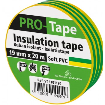 PROTAPE Insulation tape 19 mm x 20m x 0.15mm, VDE - yellow-green Tapes