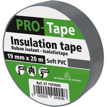 PROTAPE Insulation tape 19 mm x 20m x 0.15mm, VDE - grey Tapes