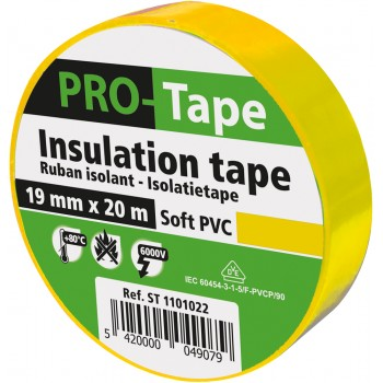 PROTAPE Insulation tape 19 mm x 20m x 0.15mm, VDE - yellow Tapes