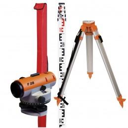 NEDO Niveau de chantier automatique F28 en set avec trépied et mire télescopiqueNiveaux optiques