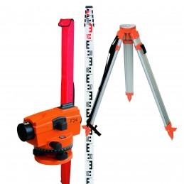 NEDO Niveau de chantier automatique F24 en set avec trépied et mire télescopiqueNiveaux optiques