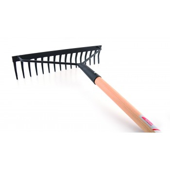 SOLID rake reinforced with curved teeth - with wooden handle Home