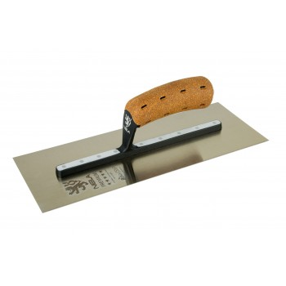 "NELA Premium plaster trowel """"Nela"""" Biko handle in CORK - 355 x 120 mm - stainless steel - Ready"" Plasterwork tools"