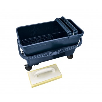 SOLID Eco tile-washing set with plastic grate and 4 castors (2 with locking system) - 24L Finishing Tools