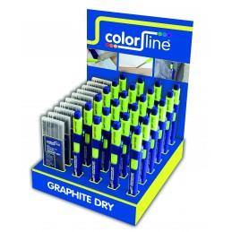 COLOR LINE Assortiment van stifthouder en vervangstiften in display: 24 X GRAPHITE DRY potlood + 10 x grafiet stiftenHome