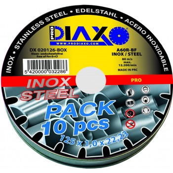 PRODIAXO INOX cutting disc Ø 125 x 1.0 mm A60R-BF - Pro Construction - Box 10 pieces Home