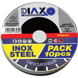 PRODIAXO Disque abrasif INOX Ø 125 x 1,0 mm A60X-BF - Premium Construction - Box 10 pcsAccueil