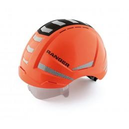 SECURX Safety helmet RANGER - HI-VIZ ORANGE + REFLECTORS twist closure, Visor, Crash box - EN 397 Helmets of construction site