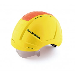 SECURX Safety helmet RANGER - YELLOW - with twist closure, Visor and Crash box - EN 397 Helmets of construction site