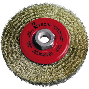FECIN Round steel brush PO (diam.)115-M14-0,30 - brass, blister pack Bowl brushes with wavy wire