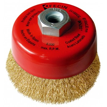FECIN bowl brush F-24 (diam.)100-M14-0,30 - brass, blister pack Bowl brushes with wavy wire