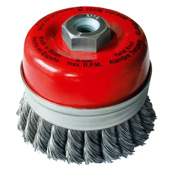 FECIN bowl brush steel twisted F-25 (diam.) 75-M14-0,50 - blister pack Cup brushes with twisted wire