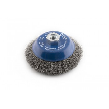 FECIN bowl brush conical F-15 (diam.)100-M14-0,3 - Inox, blister pack Bowl brushes with wavy wire