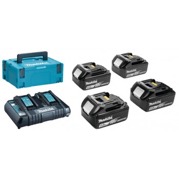 Makita 197626-8 - POWERPACK BL1850B : 4x accu BL1850B + double quick charger DC18RD in a MAKPAC III suitcase. Makita